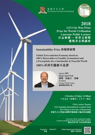 LUI Che Woo Prize – Prize for World Civilisation 2018 Sustainability Prize Laureate Public Lecture